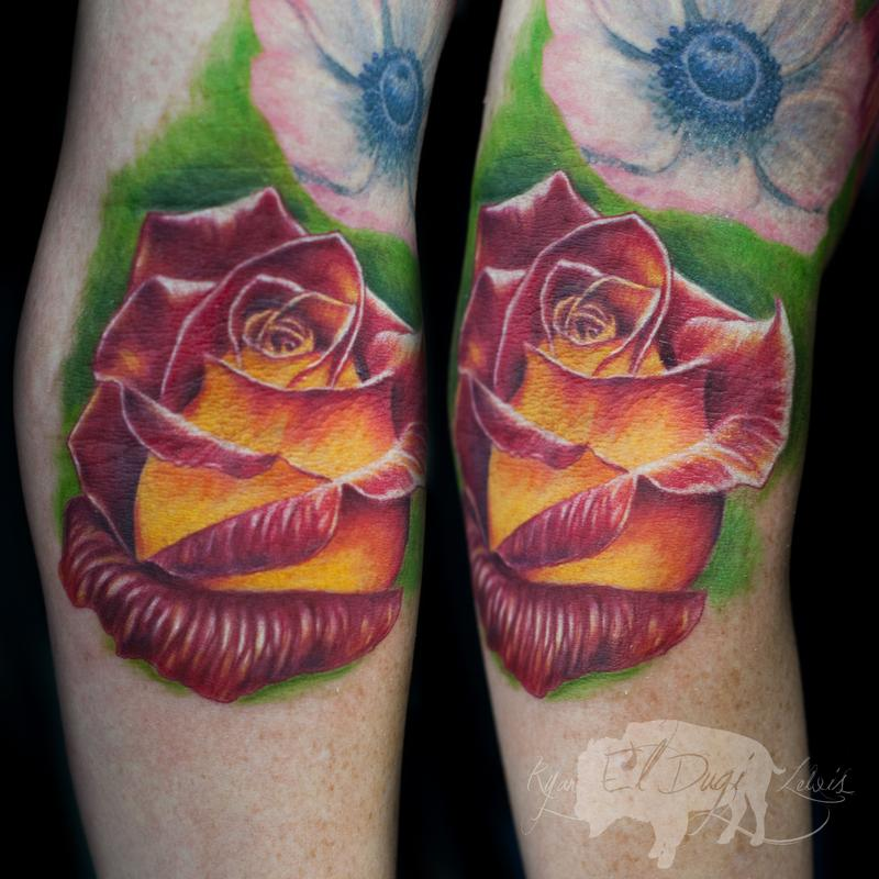 Tattoos - Red & Yellow Rose  - 111429