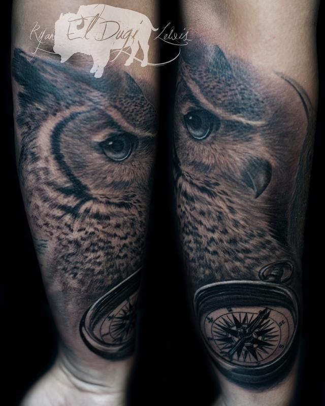 Tattoos - Great horned owl and compass  - 116702
