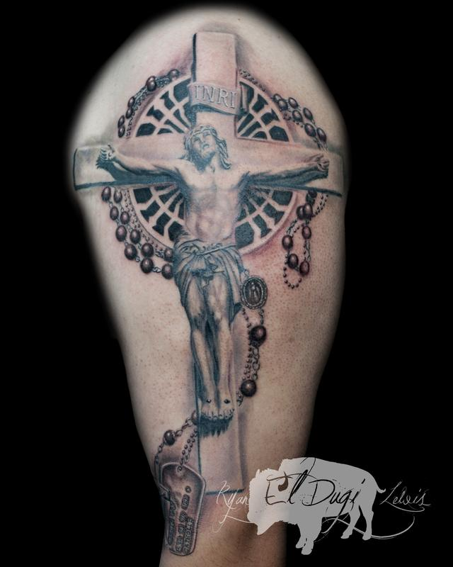 Tattoos - Jesus Christ crucifixion and Rosary  - 116704
