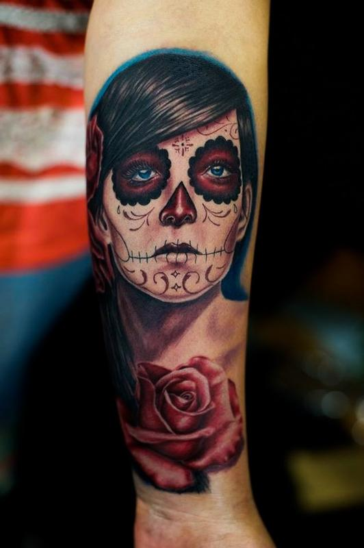 Tattoos - 3 Roses Day of the Dead Girl - 79637