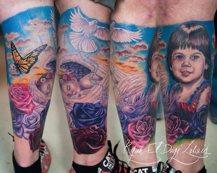 Tattoos - Baby angel sunrise portrait  - 85971