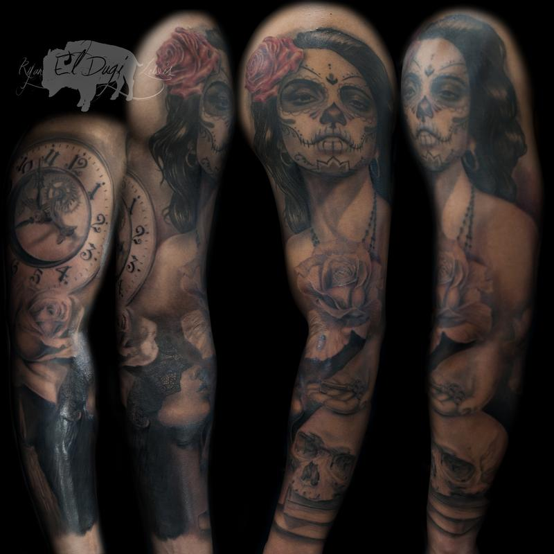 Tattoos - Dia De Los Muertos Sleeve  - 111432