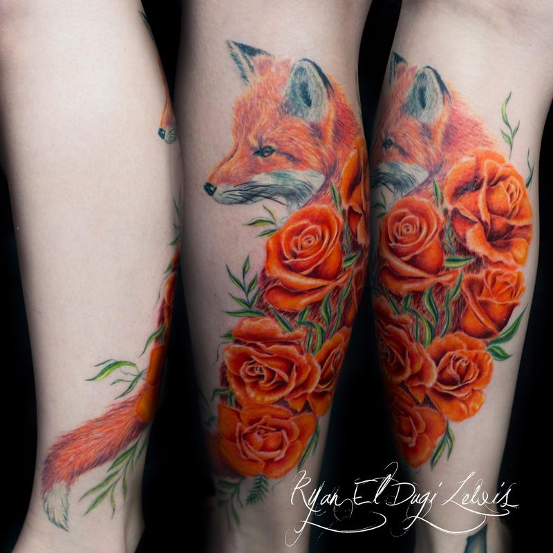 Tattoos - Red Fox Roses - 97984