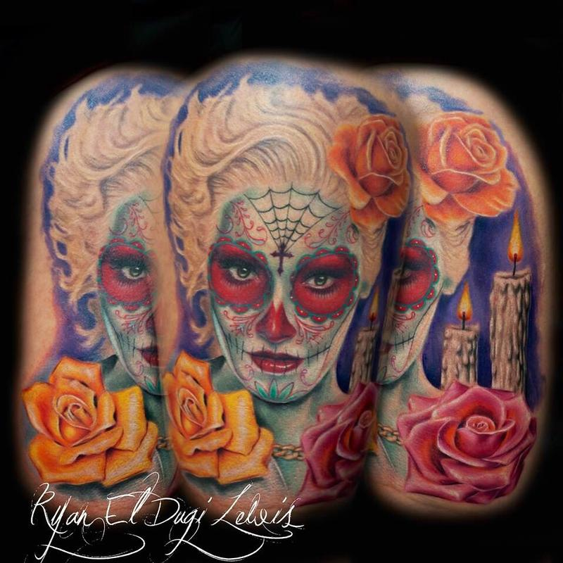 Tattoos - Dia De Los Muertos portrait of Gwen Stephani - 97985