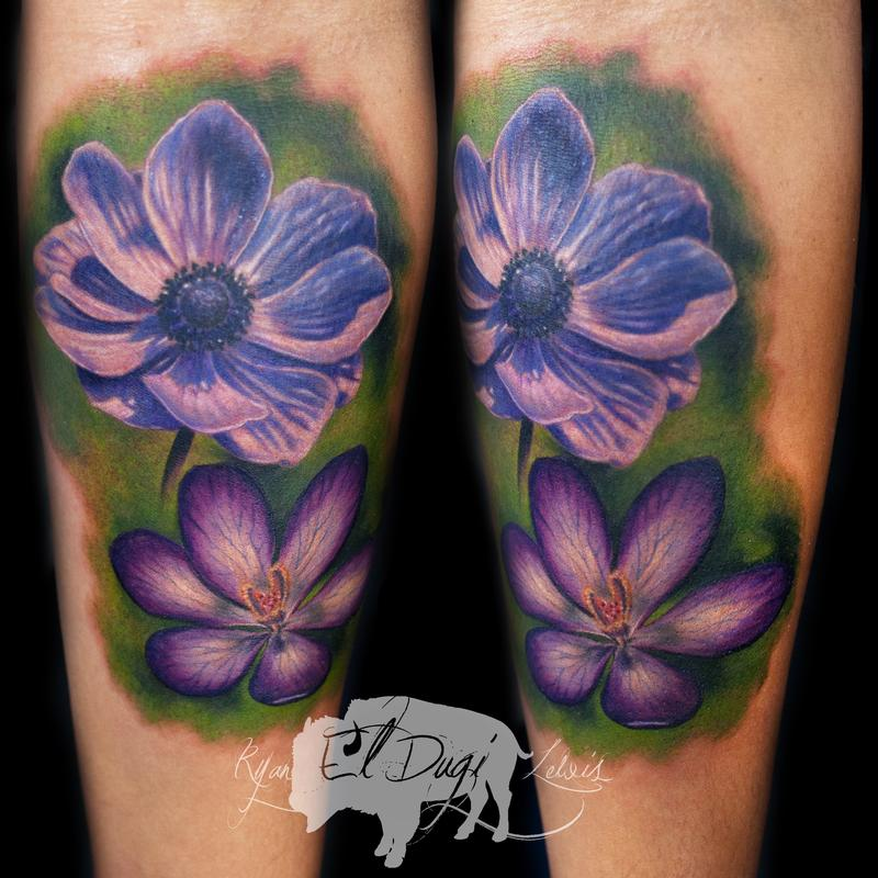 Tattoos - Color Flowers  - 103848