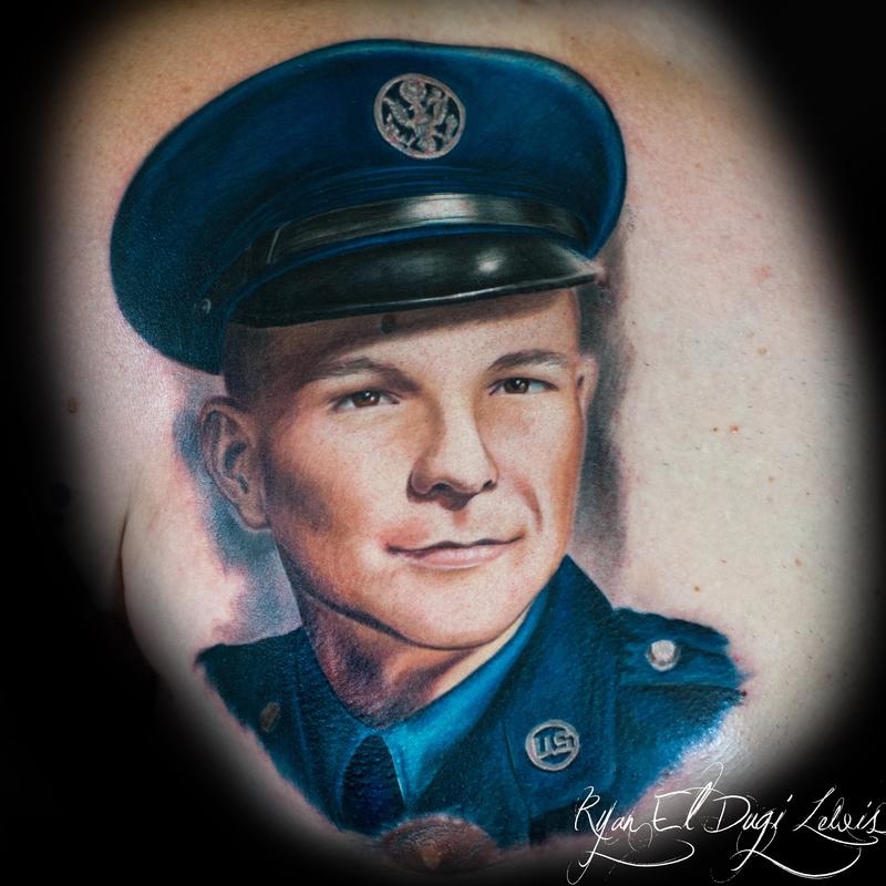Tattoos - Grandfather Airforce Portrait  - 103849