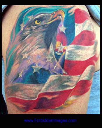 Tattoos - Bald Eagle and Flag - 10436
