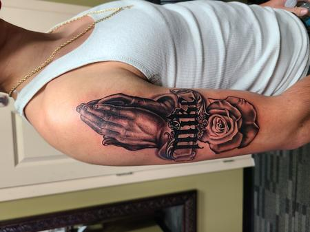 Praying Hands & Rose Tattoo Thumbnail