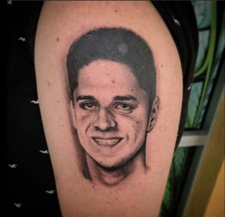 Brothers Memorial Portrait Tattoo Thumbnail