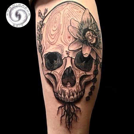 Botanical Skull Tattoo Thumbnail