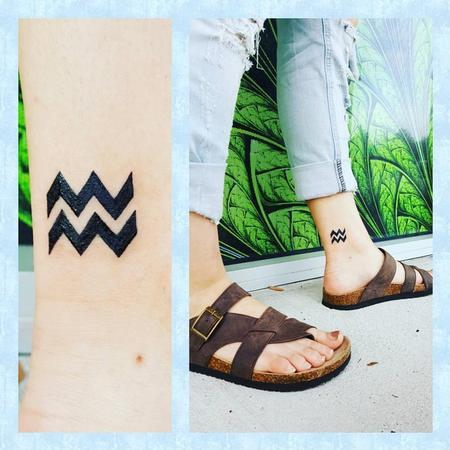 Tattoos - Aquarius Symbol on Ankle - 127014
