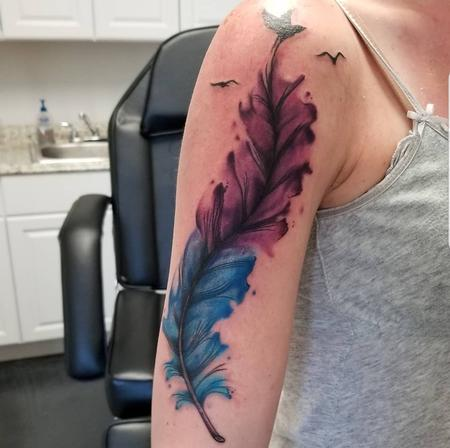 water colorish feather Tattoo Thumbnail