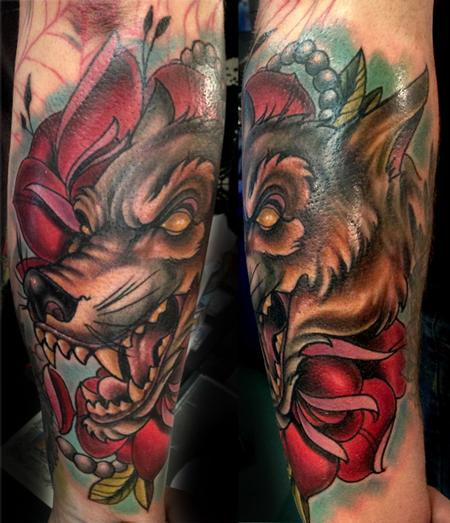 Tattoos - Wolf and Roses - 87592