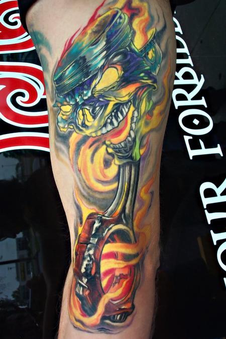 Tattoos - Piston Skull - 81092