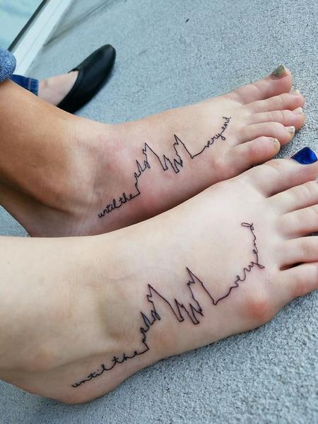 Harry Potter Hogwarts outline with Handwritten Script Tattoo Thumbnail