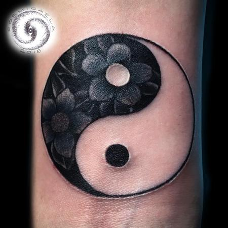 Tattoos - Floral Ying Yang  - 133380
