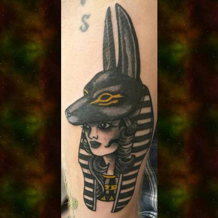 Tattoos - American Traditional Anubis Girl Head - 126634