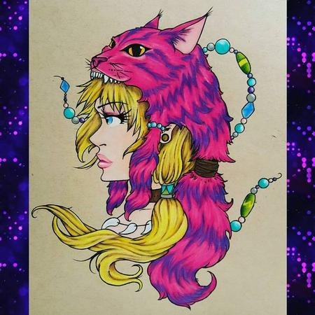 Tattoos - Anime Alice in Wonderland w/ Cheshire Headdress - 127029