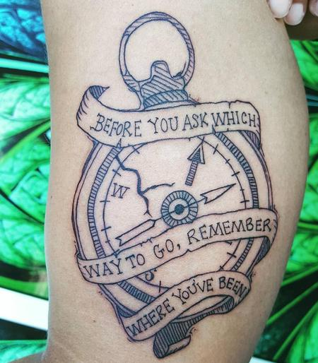Tattoos - Compass & Banner Tattoo on inner-upper Arm - 127034