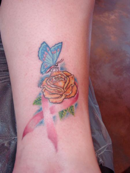 Breast cancer ribbon by steve cornicelli tattoonow for Cancer ribbon tattoo pictures