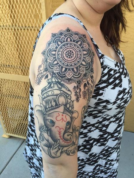 Tattoos - Ganesh and mandala - 109028