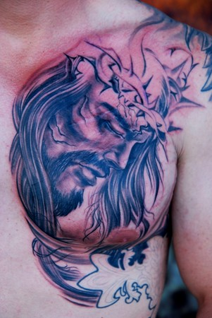 Comments Chest plate Jesus tattoo black and gray tattoo in progress