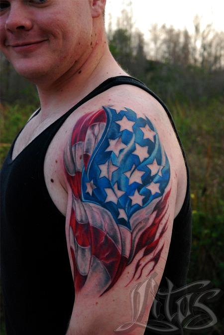 Tattoos - american flag soldier - 99164
