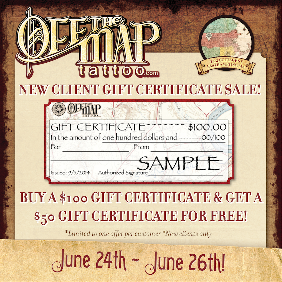 New england news new client gift certificate sale this weekend call 413 527 6574 or swing by the studio to purchase your gift certificate and book a free consultation to chat about your tattoo plans xflitez Image collections