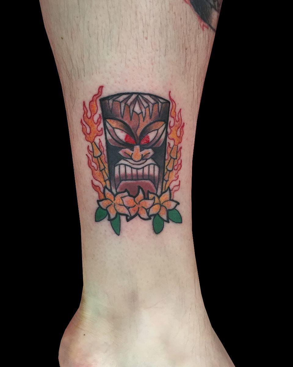 Fire Tiki &amp Plumeria By Adam Considine Sweet Trade Tattoo