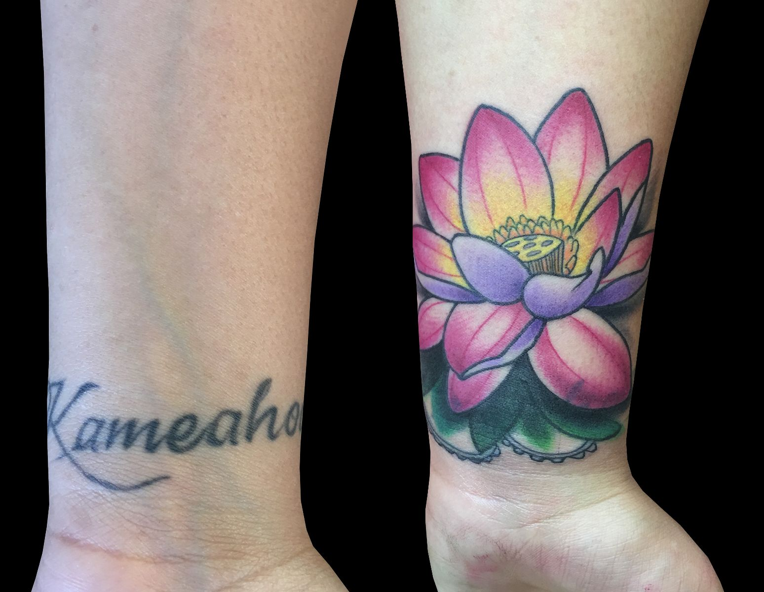 :Lotus Cover-up by Monica Painter. Sweet Trade Tattoo