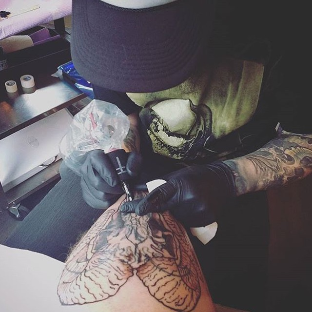 Ram Skull Cover Up Tattoo in Progress