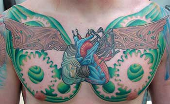 Chest plate by gabriel cece tattoos for Chest plate tattoos