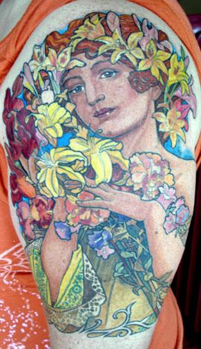 art nouveau flowers tattoos. Tattoos Art Nouveau