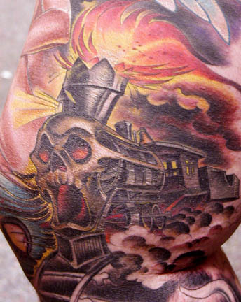 train of flesh by joe capobianco tattoonow. Black Bedroom Furniture Sets. Home Design Ideas