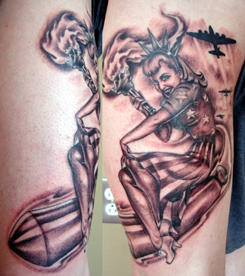 vintage army pin up girl tattoo the image kid has it. Black Bedroom Furniture Sets. Home Design Ideas