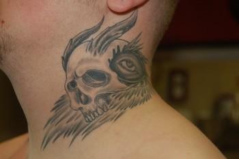 Tattoos - Skull on Neck Tattoo - 39756