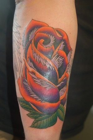 Tattoos - Neo traditional rose with feathers - 41904