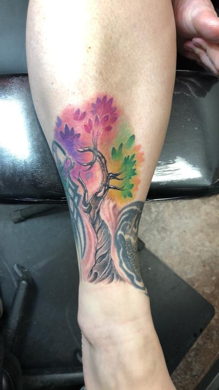 David Gordon - Watercolor tree tattoo