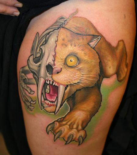 Tiger Skeleton Tattoo Half Skeleton Tattoo