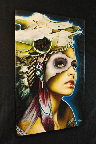 Cherokee Indian painting art canvas airbrush girl skull bone feathers warpaint muecke tattoo