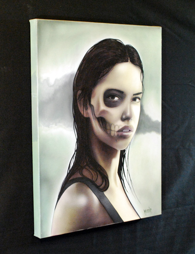 FleshFades original canvas art painting illustration girl skull face dead tattoo