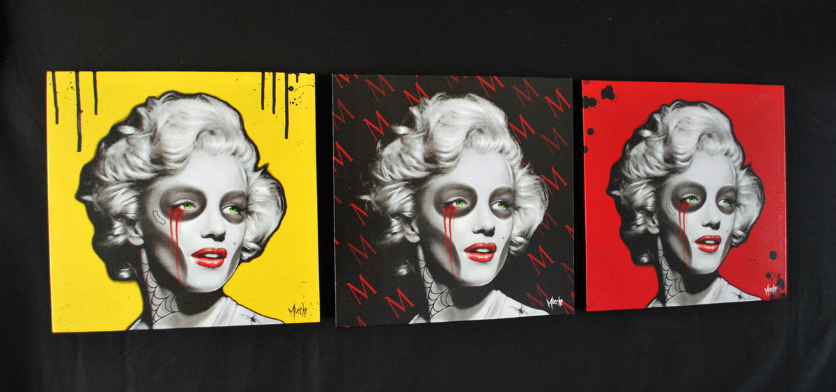 Marylin Monroe art prints canvas unique tattoo paint illustration skull girl muecke