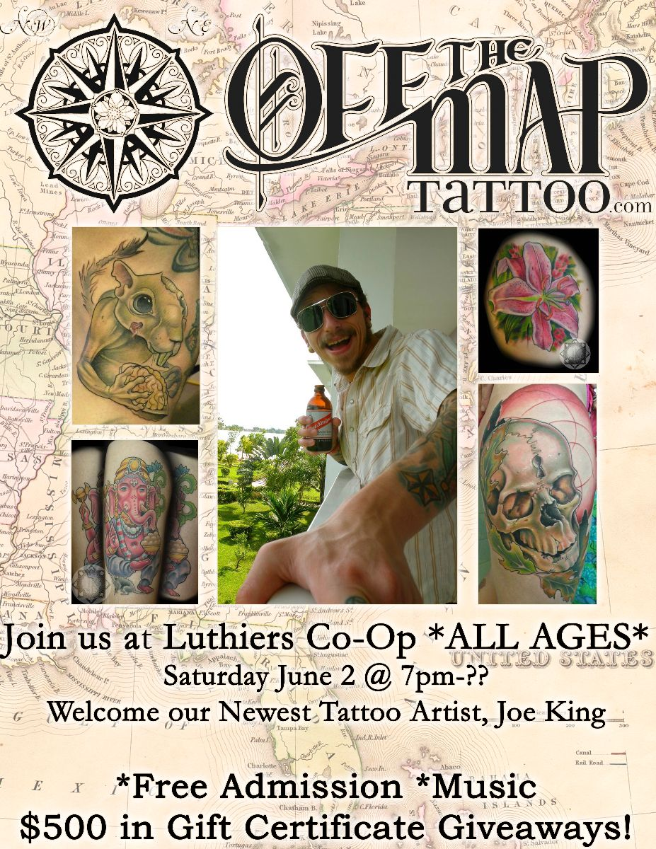 Off the map tattoo events upcoming events off the map tattoo do a tattoo consult with him and thank him for bringing his amazing talent here from kentucky feel free to call the studio at 413 527 6574 with any xflitez Image collections