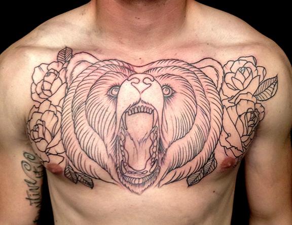 Happy holidays jeff johnson tattoo for Bear chest tattoo