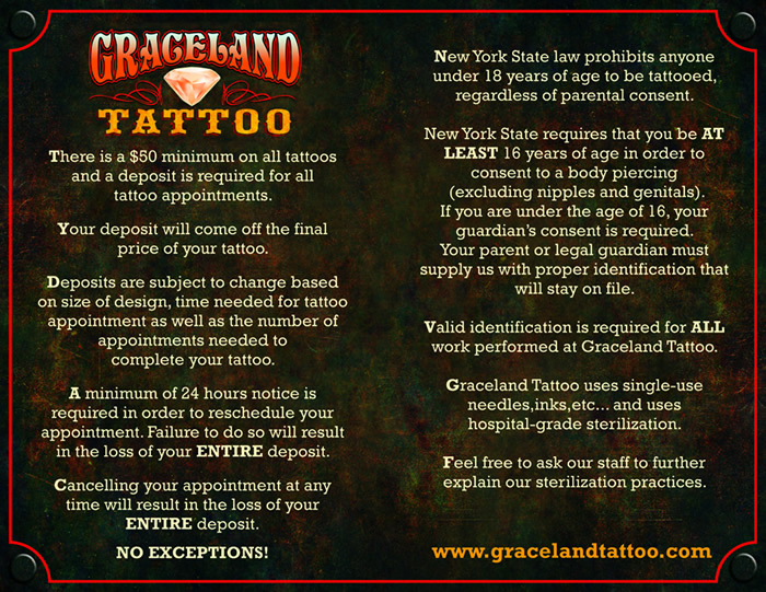 Graceland tattoo studio graceland rules for Studio 28 tattoos and body piercing new york ny