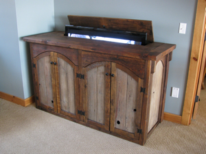 this rustic barn wood tv cabinet is designed to fit large flat screen televisions and ample space for all of your media components such as dvd or blue ray - Tv Lift Cabinet