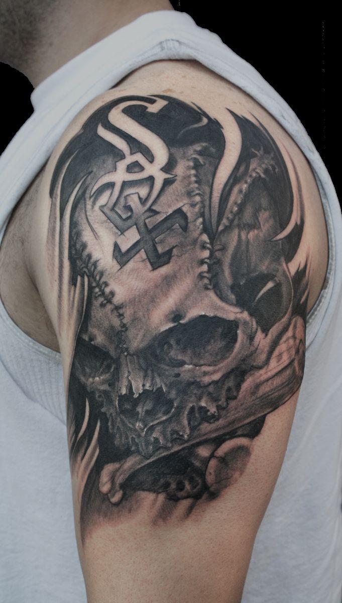 Skull Half Sleeve Tattoo Designs for Men