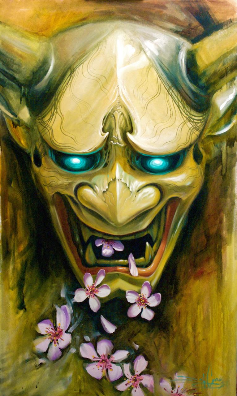 Cherry blossom Hannya Tattoo Design Thumbnail