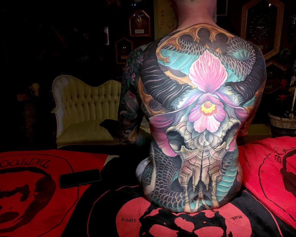 Tattoos - Ox skull, freehand fullbody suit - 121965