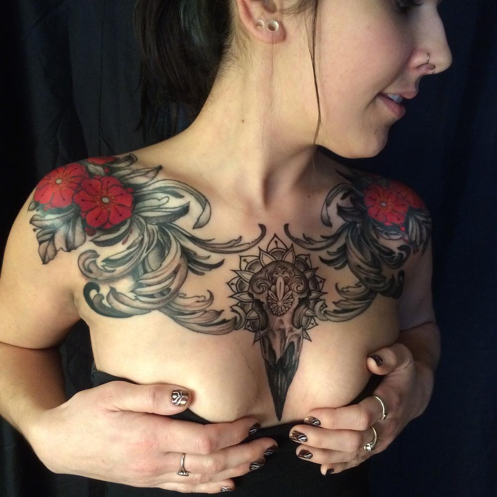 Tattoos - raven skull - 112269